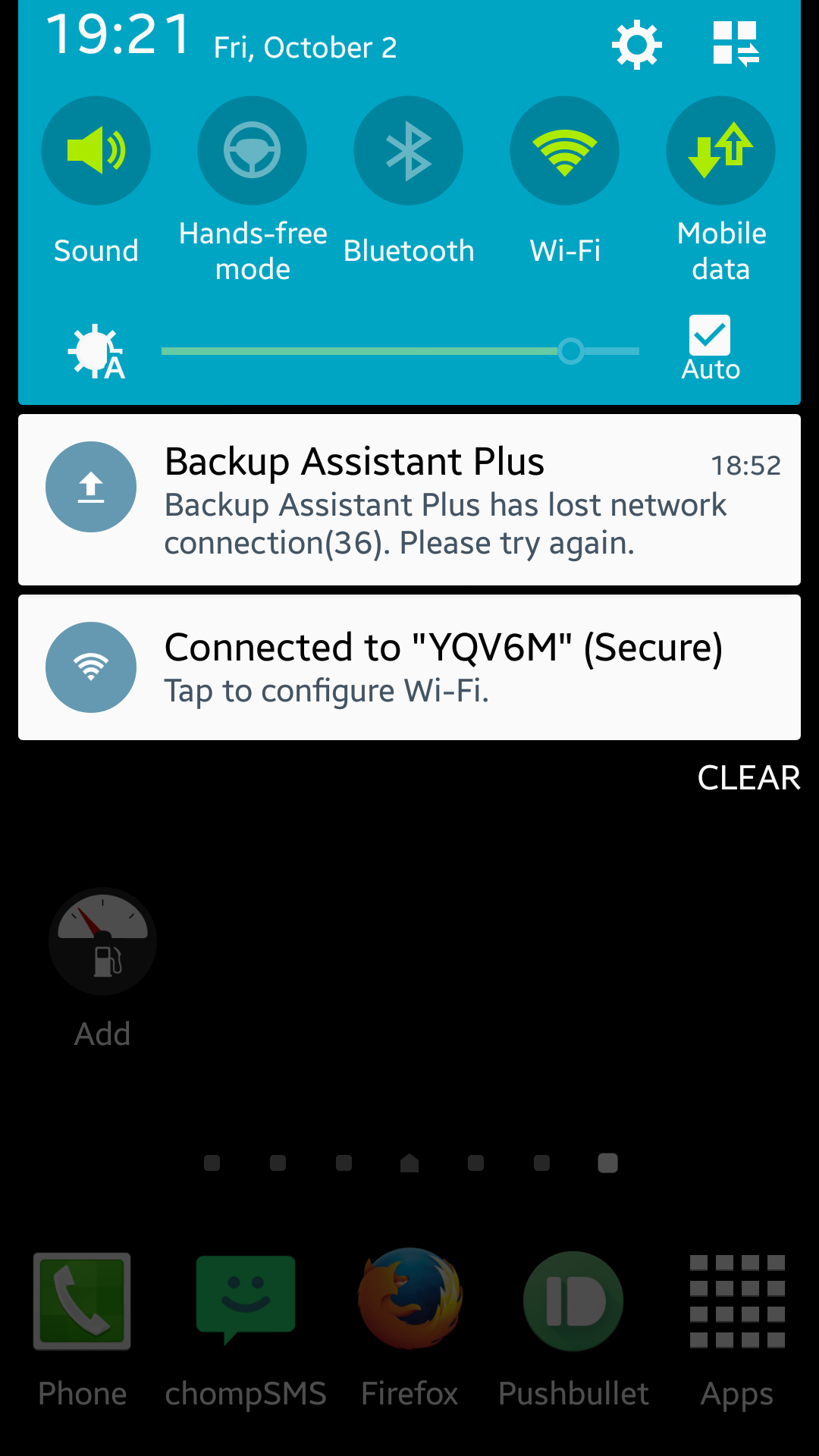 Backup assistant lost network connection
