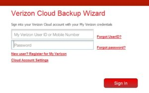 Verizon cloud backup wizard